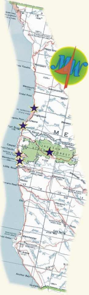 map of western Mendocino County